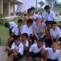 Jana visiting a tsunami orphanage in Thailand